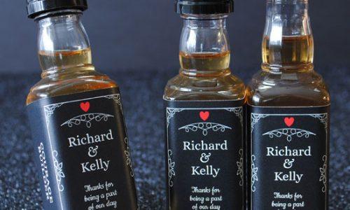 Mini-Liquor-Labels-created-for-a-wedding-two-Jack-Daniel-bottle-styles